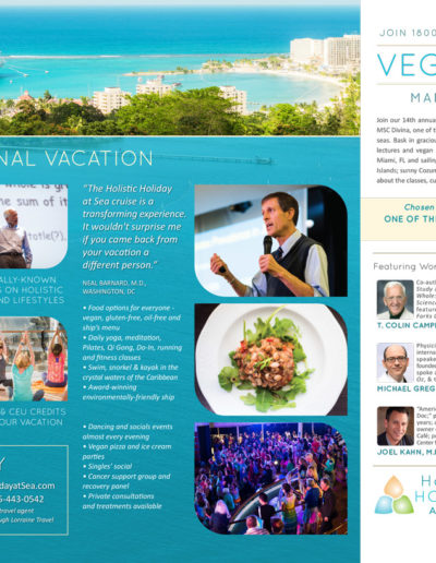 Holistic Holiday at Sea two page ad for VegNews magazine